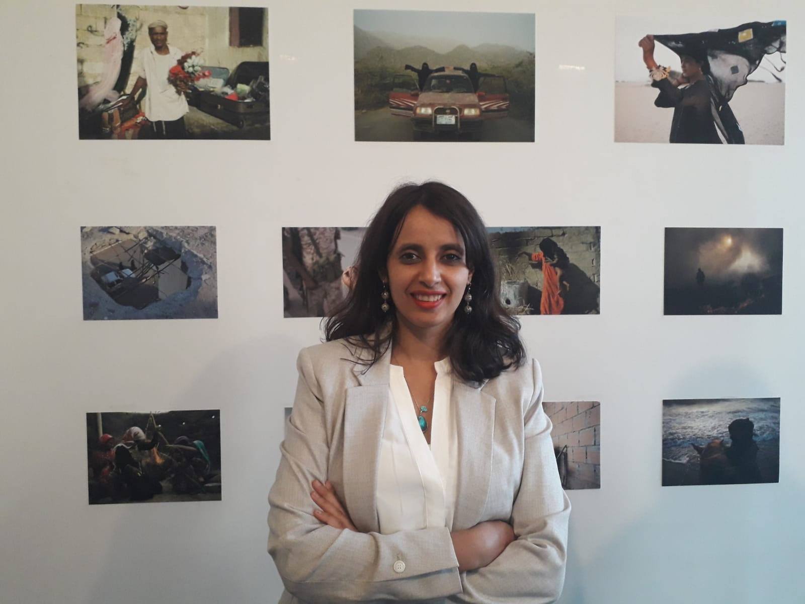 Amira Al-Sharif at her open studio in Paris, September 2019. Photo.