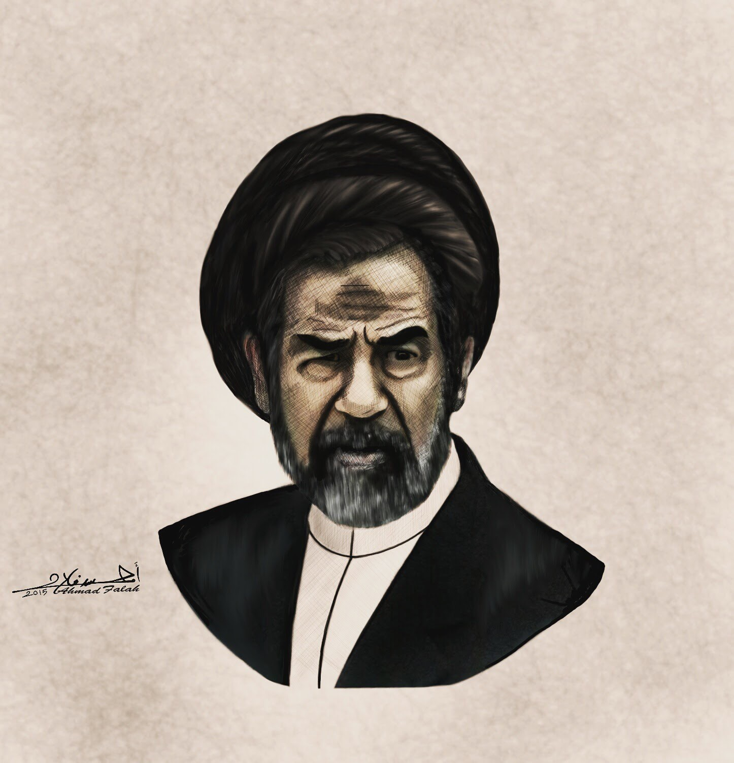 Iraqi artist, political cartoonist's Ahmad Falah's depiction of Saddam wearing the turban of a cleric, with a prayer bump on the forehead, mockingly showing his dedication to prayer. Photo.