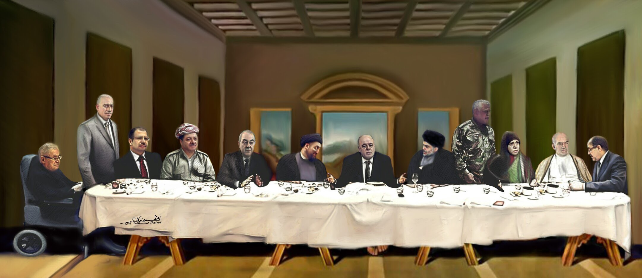Ahmed Falah's parody of Leonardo da Vinci's The Last Supper, Falah posted his work a day before Shia cleric Muqtada Al Sadr's ultimatum to PM Haider Abadi and parliament session was over, suggesting that their meeting that night to reach a solution over the reforms could be their last one. Many Iraqi Christians reacted to this art piece and for a while caused facebook to suspend Falah's account. Photo.