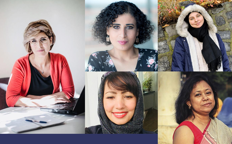 Women ICORN writers/artists 2018: Souzan Ibrahim, Sahar Mousa, Maha Nasser, Wesam AlMadani, Supriti Dhar. Photo.