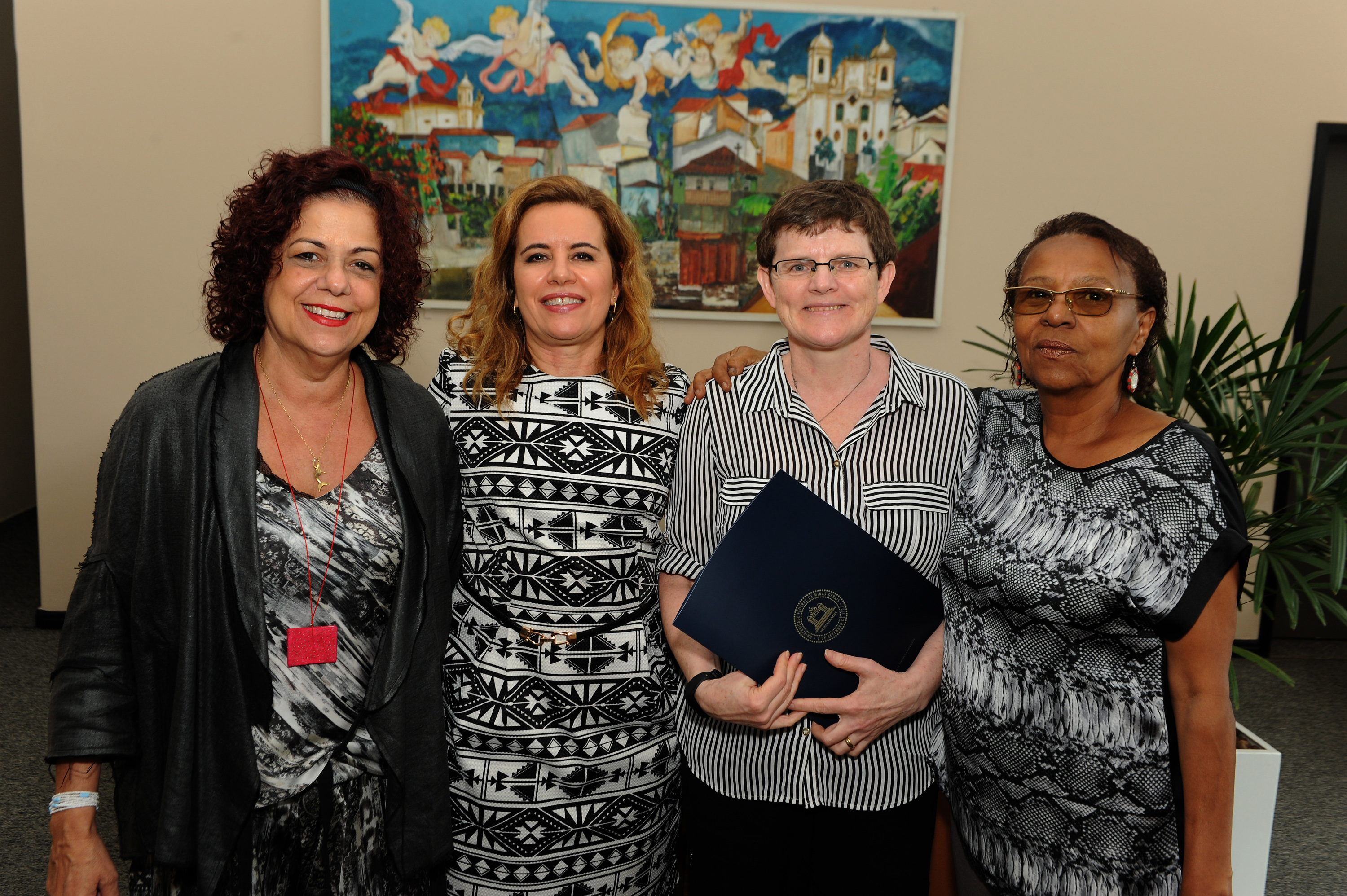 From left: Lucia Castello Branco, Professor at the literary faculty of UFMG, Vice Rector Sandra Goulart Almeida of the Universidade Federal de Minas Gerais (UFMG), Elisabeth Dyvik, Programme Director ICORN, and Leda Maria Martins, Director of Cultural Actions at the UFMG. Photo.