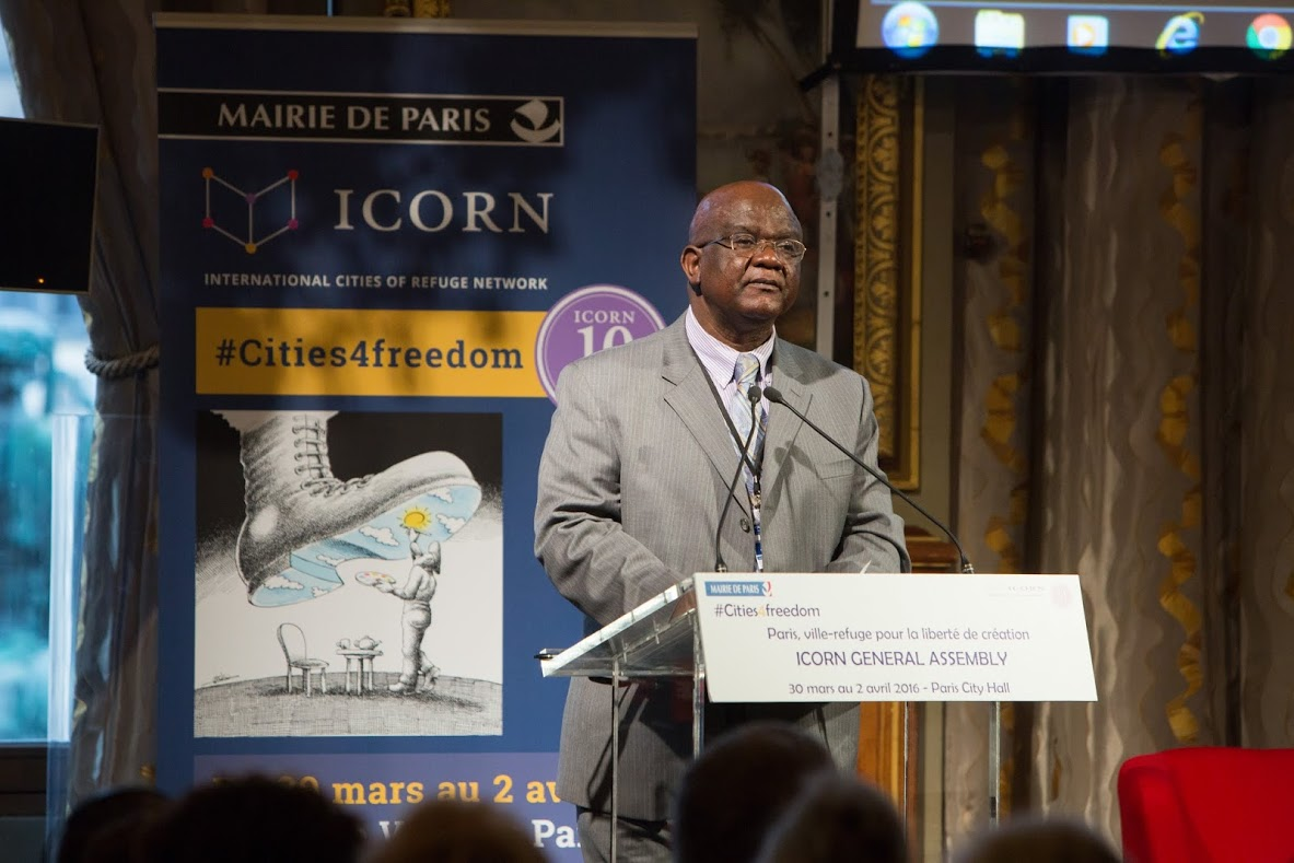 Felix Kaputo, speech at the ICORN General Assembly and 10th anniversary in Paris March 2016. Photo.