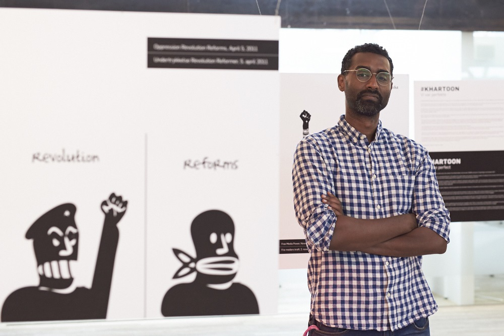 Khalid Albaih at the exhibition #Khartoon - We Were Perfect 5 July-30 September at Kulturværftet in Helsingør, DK. Photo: Niels Larsen. Photo.