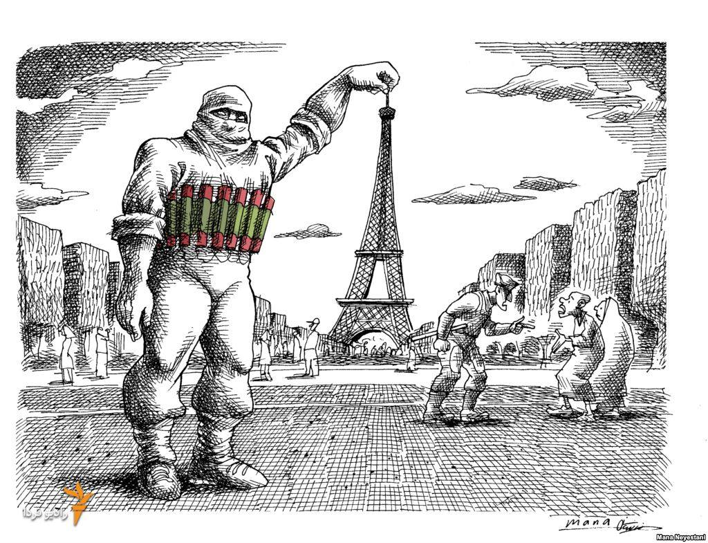 A souvenir photo with the Eiffel. By Mana Neyestani. November 2015. Photo.
