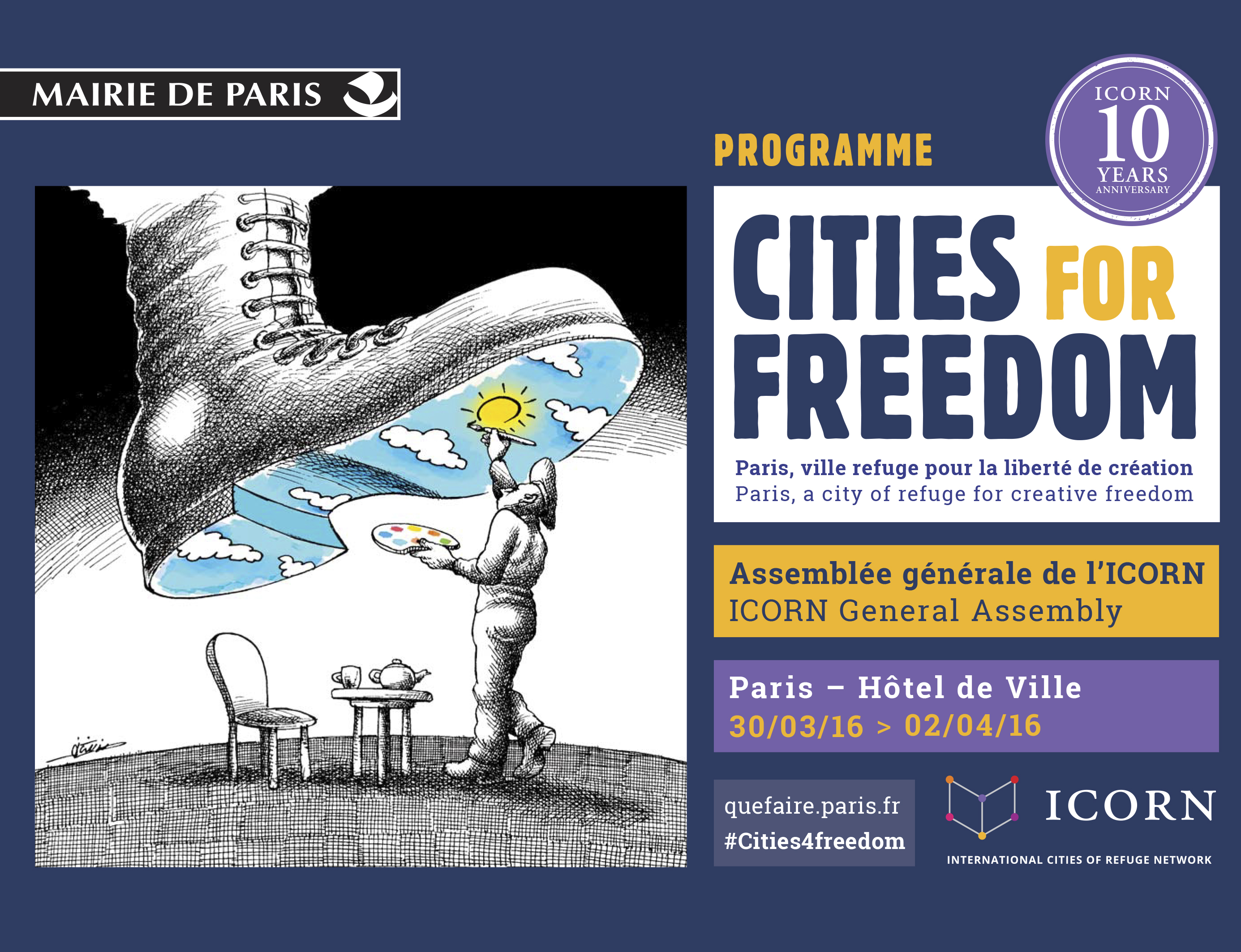 Cities for Freedom. Booklet for ICORN General Assembly and 10 years anniversary in Paris 2016. Photo.