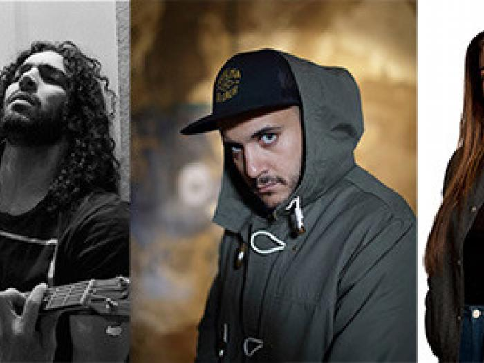 Ramy Essam (photo mynewsdesk.se), Khaled Harara (photo Joakim Roos), Ametist Azordegan (photo Erik by Erik). Photo.