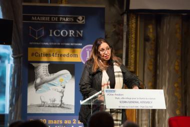 Sonali Samarasinghe speaking at the opening of the ICORN General Assembly in Hôtel de Ville in Paris 30 March 2016. © H.Garat JB. Gurliat. Photo.