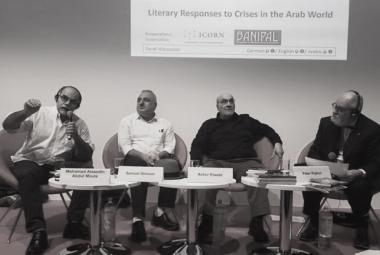 Abdul Moula, Samuel Shimon, Ashur Etwebi, Peter Ripken at Frankfurt Bookfair. Photo: Gabriele Prein. Photo.