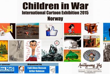 Children in War exhibition at Avistegnernes hus (the Cartoonists House) in Drøbak 10 september - 8 November 2015. Photo.