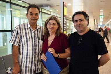 Basem Al-Nabriss, the Secretary General of PEN Catalan, Raffaela Salierno and former ICORN Guest Writer Salem Zenia