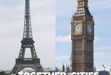 """Together, cities can and will shape the century ahead"". A joint statement of solidarity by the Paris Mayor Ms. Anne Hidalgo and London Mayor Mr. Sadiq Kahn. Photo."