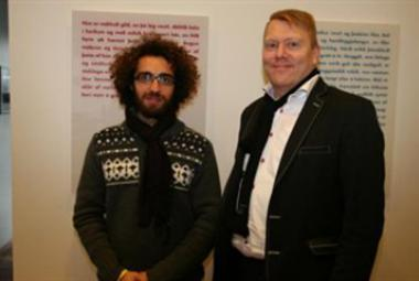 Mazen Maarouf with Mayor of Reykjavik Jon Gnarr from Morgunbladid