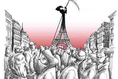 Death in Paris. Cartoon by Mana Neyestani, first ICORN guest in Paris city of refuge. Photo.
