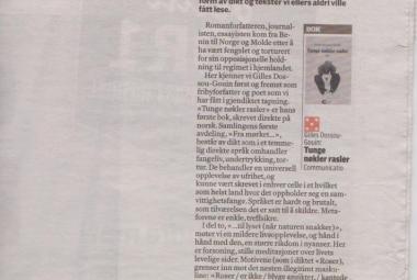 Norwegian review of Tunge nøkler rasler i Adresseavisen. Photo.
