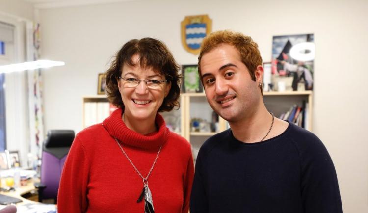 Mayor of Harstad together with Iranian metal musician Nikan Khosravi. ICORN. Photo.