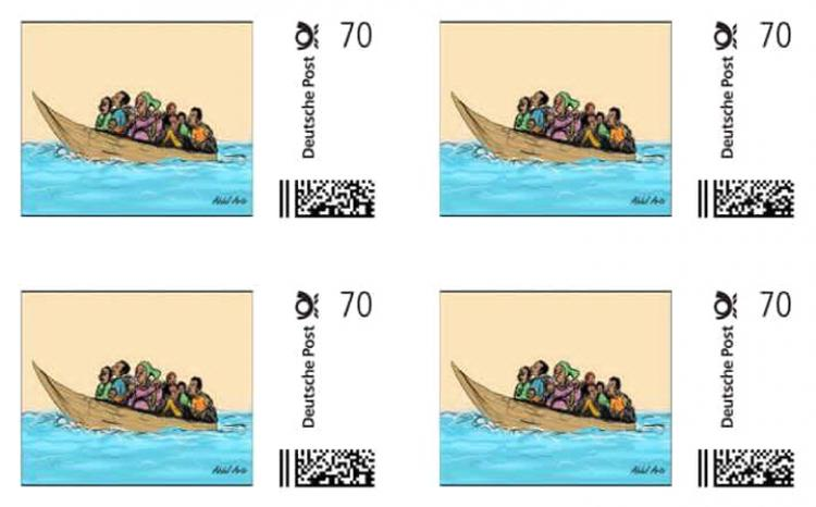 Abdul Arts' stamp in support to refugees. Photo.