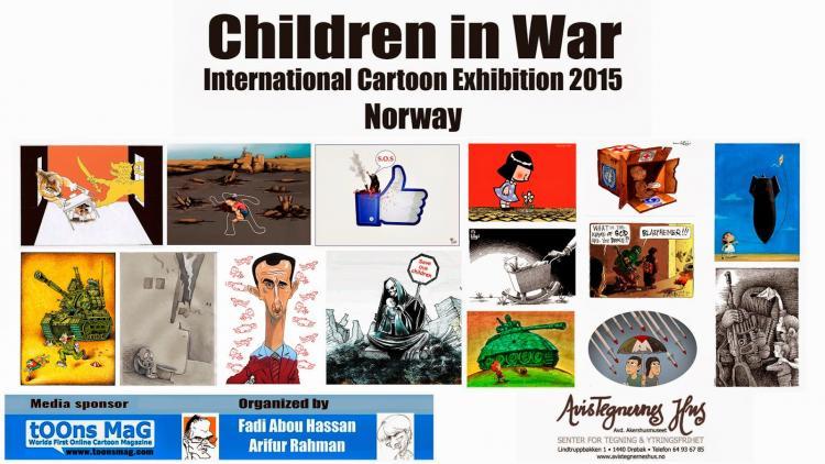 Children in War exhibition at Avistegnernes hus (the Cartoonists House) in Drøbak 10 september - 8 November 2015. Photo.