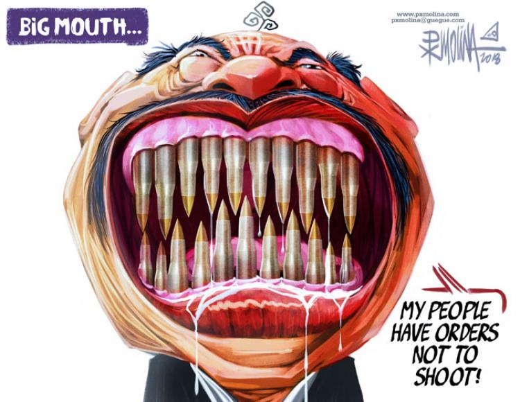 Big Mouth - orders not to shoot. Cartoon by Pedro X. Molina. Photo.