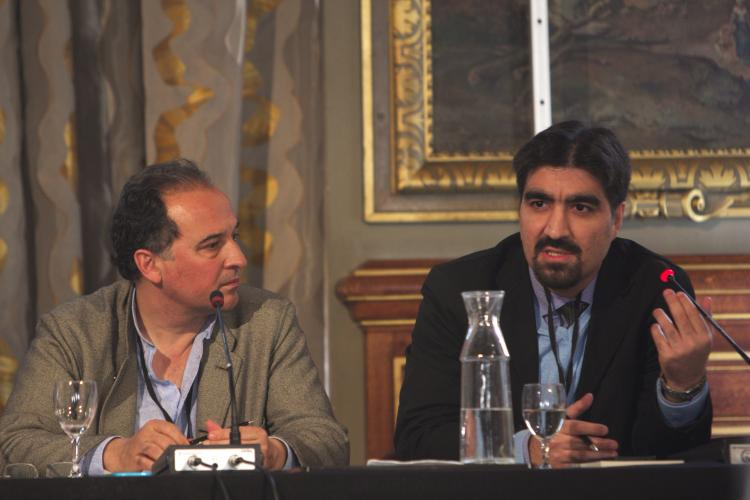 FL: Executive Director of PEN International, Carles Torner and Iranian journalist and blogger Ali Kalaei at the protection workshop at the ICORN General Assembly in Paris 30 March-1 April. Photo