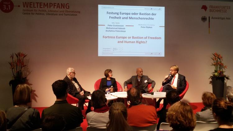 Debate at the Frankfurt Bookfair 2016 titled Fortress Europe vs Bastion of freedom and human rights. From left: Peter Ripken (Frankfurt, former ICORN Board Chair), ICORN writer in Frankfurt Anzhelina Polonskaya, ICORN writer in Stavanger Mohammad Habeeb and Peter Gustavsson (City Counciller of Culture in Uppsala City of Refuge). Photo.