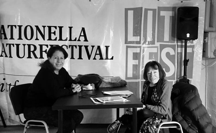 Milagros Socorro at Litfest Umeå in March 2020 with Danish translator Kirsten A. Nielsen. Photo.