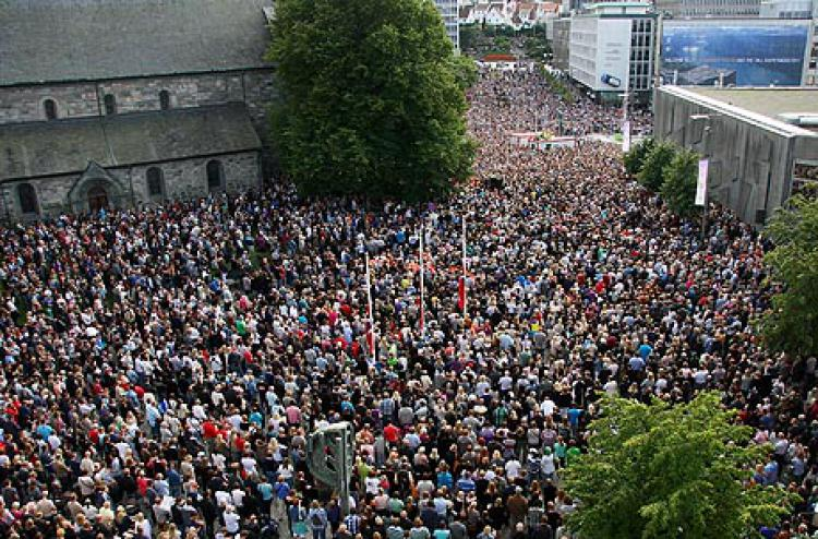Photo by Birger Haraldseid (Greater Stavanger): As many as 75 000 people gathered in Stavanger in solidarity with the victims of the 22 July massacre in Oslo and at Utøya.  Print current Article
