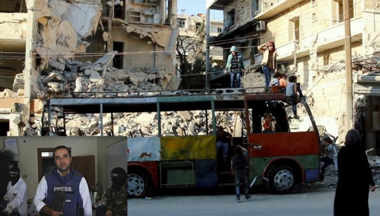 Still from the documentary film One Day in Aleppo, by Ali Al-Ibrahim. Bottom left: Ali Al-Ibrahim is a Syrian journalist, writer and documentary filmmaker. Photo.