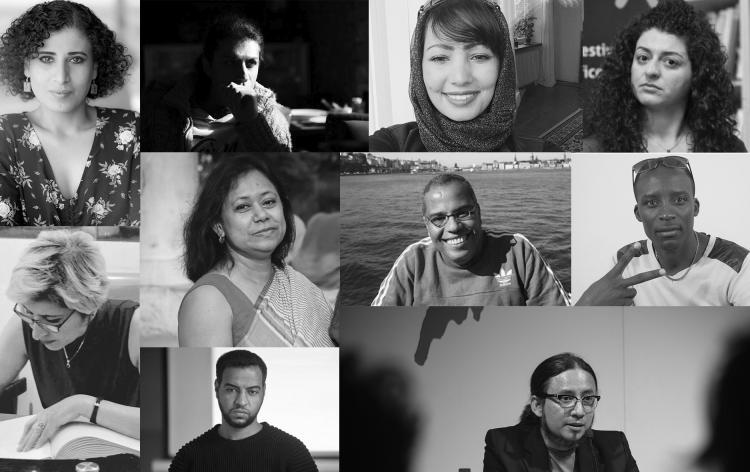 From top Left: Sahar Mousa (Palestine/Stockholm), Benyamin Diba (Iran/Oslo), Maha Nasser (Yemen/Växjö), Kholoud Charaf (Syria/Krakow). From middle left: Souzan Ibrahim (Syria/Östersund), Supriti Dhar (Bangladesh/Norrköping), Montaser Abdelmawgoud (Egypt/Trondheim), Cris Gera (Zimbabwe/Piteå) From bottom left: Sari Al Hassanat (Palestine/Gdansk), Milthon Robles (Honduras/Barcelona). Photo.