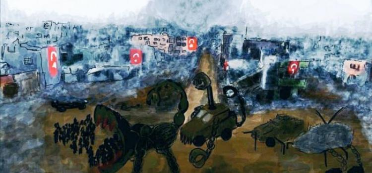 "Image: Zehra Doğan ""Nusaybin"" (2016). The work of art published above is the reason why the artist and writer, Zehra Doğan, is now in prison for terrorist propaganda. Photo from the Dissident Blog. Photo."